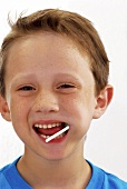 Small boy with lollipop in his mouth