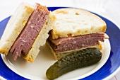 Pastrami sandwich with gherkin