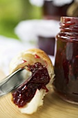 Croissant with berry jam
