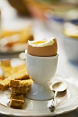 A boiled egg with toast soldiers