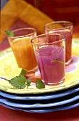 Three fruit cocktails