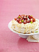 Pavlova (Australian meringue dessert) with strawberries