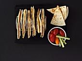 Ham quesadillas (filled tortillas)