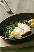 Fried cod fillet with spinach