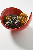 Black ribbon pasta with clams