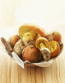 Caesar's mushrooms in a wooden bowl
