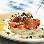 Small salmon gateau with herbs and Parmesan
