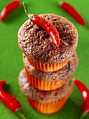 Three chocolate chilli muffins