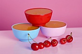 Cherry pudding in three bowls