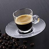Espresso in a glass cup