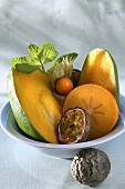 Bowl of exotic fruit