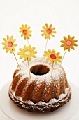 Marble cake with flower cookies