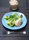 Ham mousse on summery salad