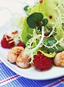 Summer salad with raspberries and fried veal sweetbreads