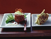 Asian beef tartare with chapatti