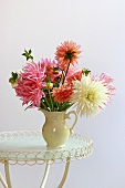 Dahlias in a pottery jug