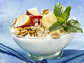 Yoghurt with fruit, nuts and rolled oats