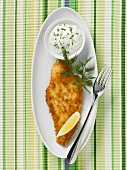 Breaded plaice fillet with dip