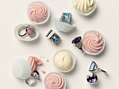 Sweets and rings in paper cases