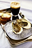 Fresh oysters with beer, bread and butter