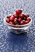 Cranberries in a small glass dish