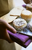Cheese and crackers with lavender flowers