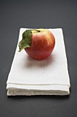 Elstar apple with leaf on linen cloth