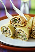 Pancakes with mushroom filling