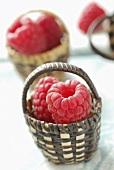 Raspberries in tiny baskets