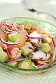 Lobster, avocado and red onion salad