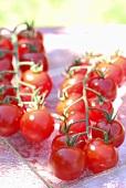Cherry tomatoes on glass platter