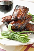 Pork ribs with maple syrup and green beans