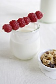 Raspberry skewer on yoghurt jar, cereal beside it