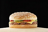 Cheeseburger on paper napkin
