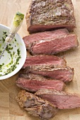 Beef steak (sliced) and brush with herb butter