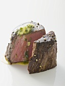 Beef fillet steak with herb butter
