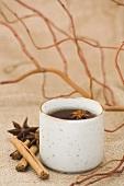 A pot of spiced black tea
