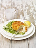 Fish cake with rocket