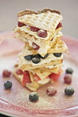 A tower of waffles and berries