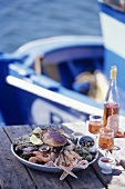 Seafood platter on landing stage