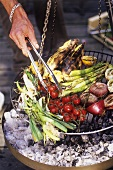 Barbecuing vegetables