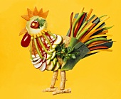 Rooster made from vegetables