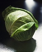 A cabbage with drops of water