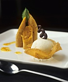 Vanilla ice cream in praline shell and carrot pastries