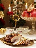 Roast pork with garlic and cloves