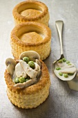 Mushroom vol-au-vent and two vol-au-vent cases
