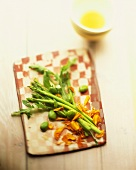 Asparagus and bean salad with edible flowers