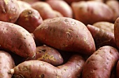 Sweet potatoes on a market stall