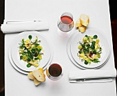 Two place-settings with salad, bread and red wine