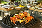 Barbecue: grilled crayfish with lime oil